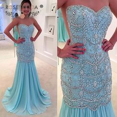 Stunning Sheer O Neck Crystal Beaded Mermaid Blue Prom Dress with See Through Back Formal Wedding Party Dress,41232