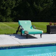 Linum Home Textiles Standard Chaise Lounge Cover Color: Aqua, Letter: E