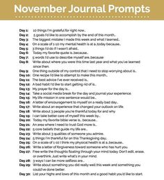 """All Things Beauty🌻🥀 on Instagram: """"#NovemberJournalChallenge  Join me this month in a #journalchallenge. So much growth and #selfactualization can come from #journaling .…"""" Journal Challenge, Journal Prompts, Writing Prompts, Journals, Fat Mum Slim, Self Actualization, Drawing Prompt, Im Grateful, Couple Games"""