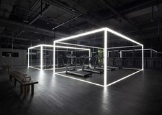 Shanghai design studio Coordination Asia has converted a Beijing art gallery into a gym and studio space for Nike Bühnen Design, Design Nike, Booth Design, Studio Design, Design Studios, Chair Design, Led Neon, Peking, Gym Interior