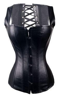 a2628 Black Leather Overbust Corset Vest