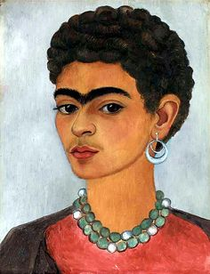 Kahlo, Frida (1907-1954) - 1935 Self-Portrait with Curly Hair (Christie's New York, 2003), for more, please visit: http://www.painting-in-oil.com/artworks-Rivera-Diego.html