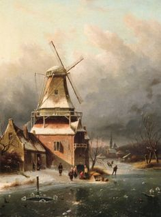 Charles Leickert - IJsgezicht met molen