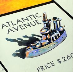 www.codagallery.com | Atlantic Avenue by Kathleen Keifer | Acrylic on Canvas #monopoly #boardgames #fineart