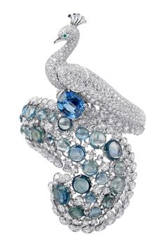 Peacock brooch of sapphires, diamonds and platinum by Cartier 2011
