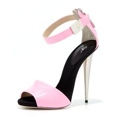 Giuseppe Zanotti High-Heel Neon Sandal (€340) ❤ liked on Polyvore featuring shoes, sandals, heels, sapatos, high heels, buckle sandals, peep toe sandals, cone heel sandals, peep-toe shoes and jewel sandals