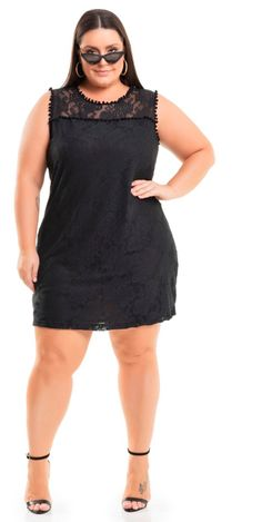 71e92491d Vestido Meia Malha em Renda Preto Miss Masy Plus Size. #modaplussize  #roupasplussize #