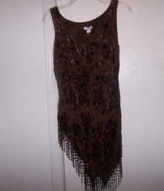Cache ~ Womens Brown Beaded and seuined Shirt Size 4 #Style #Fashion #Deal