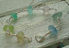 Pastel Sea Glass Sterling Silver Bracelet by SeahamWaves on Etsy