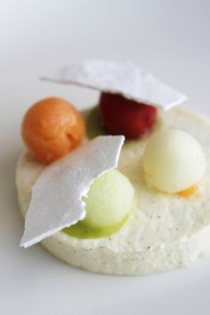Tokara Restaurant - Vanilla panna cotta with fruit sorbets, meringue & mint Vanilla Panna Cotta, Fruit Sorbet, Meringue, Cape Town, Wines, South Africa, Followers, Restaurants, Boards