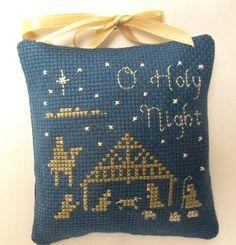 O Holy Night Nativity Cross Stitched Christmas by luvinstitchin4u, $15.95