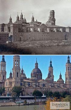 Una de las fotografías más antiguas que se conocen de la Basílica del Pilar de Zaragoza, captada hacia 1860, hace la friolera de siglo y medio. Todavía no se ha construido la cúpula y apenas existe una torre sin su remate superior. Podemos comparar con una imagen actual del templo, ya acabado. ¿Cuántos cambios…