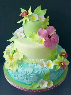 Bright spring Hawaiian cake decorated with fondant Gorgeous Cakes, Pretty Cakes, Amazing Cakes, Fondant Cakes, Cupcake Cakes, Car Cakes, Cake Fondant, Fondant Figures, Just Cakes