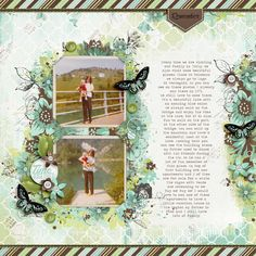 Love the clustering around the vintage photographs in this #scrapbook page by Irene at #designerdigitals