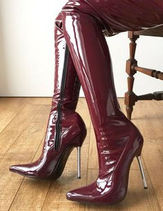 12cm Weapon Silver Metal Stiletto Heel Crotch Hi Show Boot Patent Shiny PVC Raisin Wine