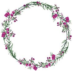 Flower Circle, Flower Frame, Flower Art, Embroidery Patterns, Hand Embroidery, Wreath Drawing, Borders And Frames, Watercolor Flowers, Cute Wallpapers