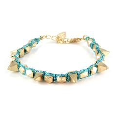 Metallic Teal Metallic Thread Bracelet with Gold Spikes