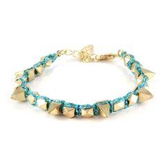 Metallic Teal Metallic Thread Bracelet with Gold Spikes   #ettika #rocker #rockandroll #jewelry #accessories  #boho #spike #bracelet