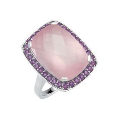 Women 13MM Sterling Silver Emerald Cut 8.5ct Light Pink CZ Cocktail Ring Band