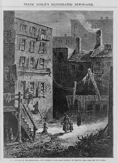 Illustration showing an early morning scene on Donovan Lane, also known as Murderer's Alley, in the Five Points neighborhood of New York, (Photo by Interim Archives/Getty Images) Manhattan Nyc, Lower Manhattan, Old Photos, Vintage Photos, Gangs Of New York, Work In New York, New York Police, Five Points, Vintage New York