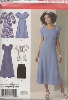 Sewing Pattern, Simplicity 2249, Misses Dress, Top and Skirt, Size 10-18