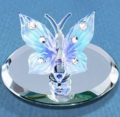 USD Crystals by Swarovski® Glass Attached Mirror Base Handcrafted by Glass Baron Gift Boxed Size : x Butterfly Gifts, Blue Butterfly, Swarovski Crystal Figurines, Swarovski Crystals, Glass Baron, Vases, Seashell Painting, Blown Glass Art, Glass Artwork