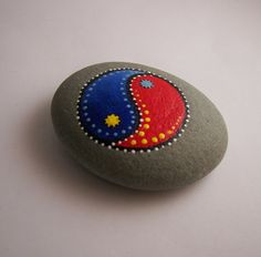 Ying Yang Balance Hand Painted River Rock Garden by ilovemy1984