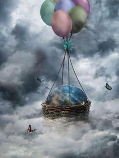 exit strategy : plan F Creative Pictures, Creative Art, Ballons Fotografie, City Pages, Surreal Art, Hot Air Balloon, Photo Manipulation, The Great Outdoors, Fantasy Art