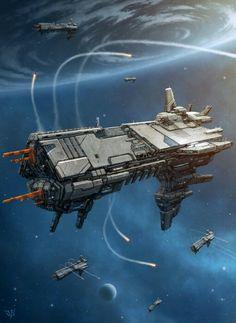 Avenger by LeonovichDmitriy spaceship spacecraft Spaceship Art, Spaceship Design, Arte Sci Fi, Sci Fi Art, Concept Ships, Concept Art, Stargate, Nave Star Wars, Cyberpunk