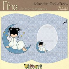 Angel on the moon pillow box Nina dolls 0177  Instant by Withart, $1.90