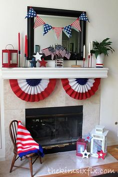 Patriotic Fourth of July Mantle.. Red, White and Blue