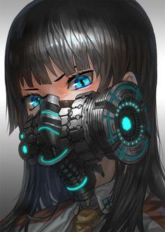 long black hair girl gas mask - Google Search