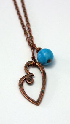 Heart Copper Necklace Turquoise by KyleyCo on Etsy