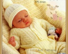 PDF Knitting Pattern - Baby's Pram Set with Cardigan,Trousers, Hat & Socks -Instant Download