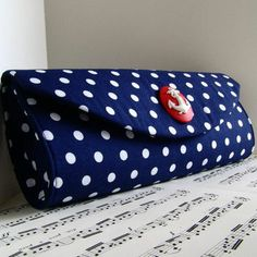 Nautical Navy blue and white polka dot purse with red anchor. Clutch purse. Made to order