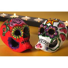 Colorful Calaveras - Decorate papier-mache skulls from the craft store.