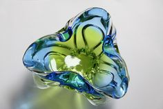 60/70′s Murano Sommerso Pinched Glass Bowl
