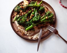Seared Broccolini with Chili Hazelnuts & Whipped Tahini | The First Mess Grilled Cabbage, Vegan Side Dishes, Sprouts Salad, Chili Recipes, Tahini, A Food, Food Processor Recipes, Tasty, Stuffed Peppers