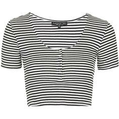 TOPSHOP TALL Striped Popper Front Cropped Tee (€5,03) ❤ liked on Polyvore featuring tops, t-shirts, shirts, crop tops, crop, cream, white crop top, white crop tee, t shirt and white tee