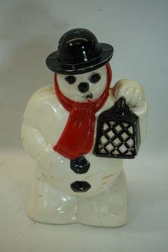 VINTAGE HARD PLASTIC SNOWMAN CHRISTMAS DECORATION FIGURE XMAS LIGHT ORNAMENT