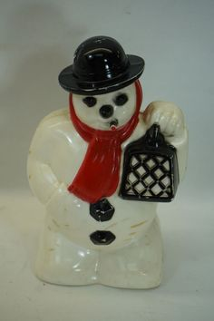 VINTAGE HARD PLASTIC SNOWMAN CHRISTMAS DECORATION FIGURE XMAS LIGHT ORNAMENT
