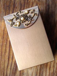 Vintage 1950s Cigarette Case Brushed Metal Pearls Business Card Holder Compact 2013629