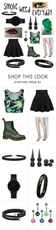 """""""Smoke Weed Everyday"""" by funtime-foxy on Polyvore featuring mode, WithChic, Dr. Martens, Leg Avenue, Humble Chic, Hot Topic, CLUSE en Swarovski"""