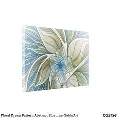 Floral Dream Pattern Abstract Blue Khaki Fractal Canvas Print