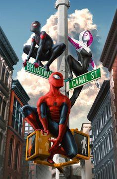 Spider-Man, Miles Morales, Spider-Gwen by Tom Velez - Spiderman Marvel Comics Art, Marvel Comic Universe, Marvel Vs, Marvel Memes, Spiderman Kunst, All Spiderman, Amazing Spiderman, Wallpaper Winter, Japon Illustration