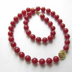 Jade-Kette Collier in rot gold mit Schnecke von soschoen auf DaWanda.com