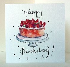 Birthday Cake Card from Original Illustration