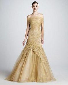 Monique lhuillier Gold Ruched Lace Off Shoulder Trumpet Couture Gown
