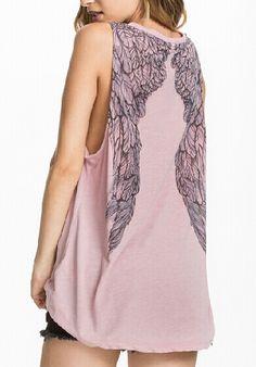 Pink Round Neck Wing Print Loose Vest 8.99