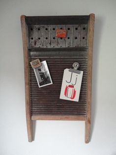 Repurposed washboard message center by sweetoldthings on Etsy, $30.00